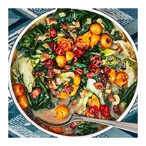 wilted-greens-in-tomato-bacon-broth-recipe-bon image