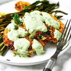 zesty-whole30-salmon-cakes-with-lemon-garlic-asparagus image